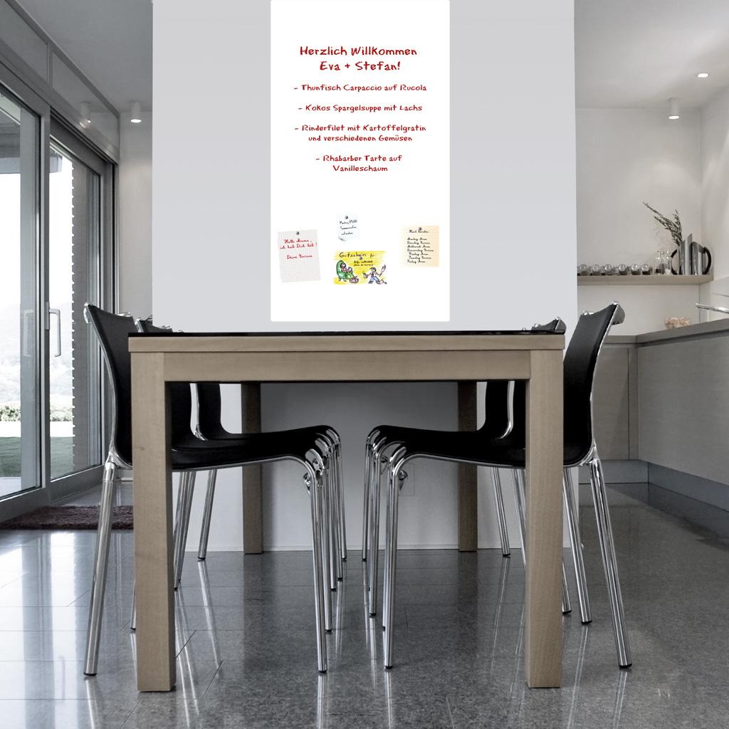 3er Set Selbstklebende und magnetische Whiteboard Tafelfolie für Kreidestifte_DIN A4 (21x29,7cm)  weiß