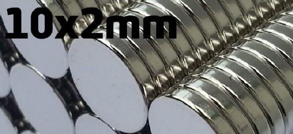 10er Pack Hochleistungs-ScheibenMagnet-silber 10x2mm