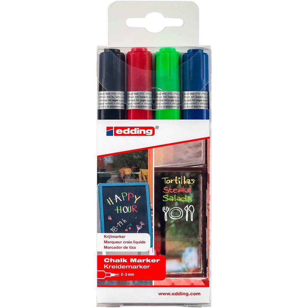Kreidestift EDDING® 4095 - 4ER Set -  Schwarz-Rot-Grün-Blau
